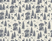 De-stash Sale- Woodland Spring by Design by Dani for Riley Blake Fabric, Navy Woodland Friends - 1 yard only