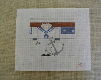 Needlepoint canvas -  Christmas Sailor with Anchor