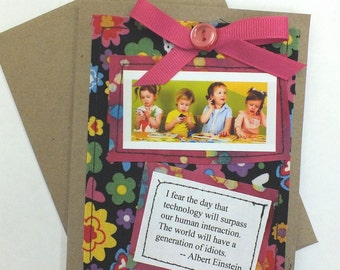 """FREE SHIPPING Collage Greeting Card Blank Inside Paper Stitching """"Technology"""""""