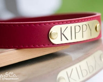 Dog Collar//Leather Dog Collar//Personalized Dog Collar//Name id Collar//Custom Dog Collar