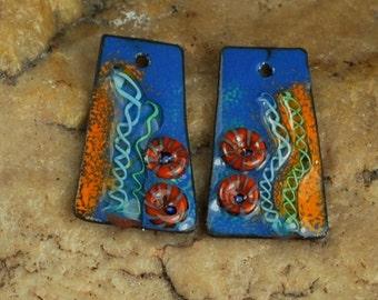 On Sale Enameled Copper Metal Stamps, Earring Beads, Murrini, Enamel, Charms, Ocean #739 by CC Design