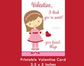 Girl Valentine Card, Printable Card, Kids Valentine Cards, Valentine for Girls