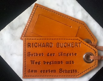 Personalized Leather Luggage Tag - German Language