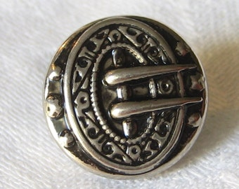 VINTAGE Small Silver Metal Buckle BUTTON