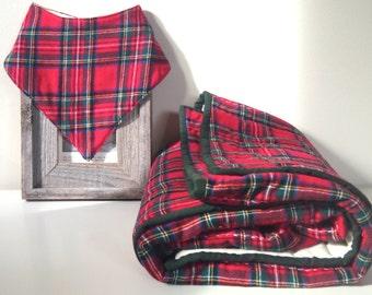 Baby Quilt and Bib Gift Set | Simple Modern Baby Quilt | Srewart Red Christmas Flannel | Gender Neutral Baby Gift |