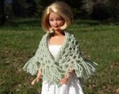 Barbie Knitted Lace Doll Shawl -  Crinkly Novelty Yarn- Mint Green - Fringe on Bottom Edge