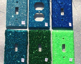 Blue Green Aqua Ocean Glitter Switchplate Outlet Double Triple Quad Rocker Blank Cable Dimmer