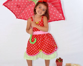 Strawberry Shortcake inspired retro STORYBOOK dress great for a special occasion or birthday party