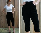 Vintage 50s Black Velour High Waisted Pedal Pushers by Fancy Pants | Small Medium