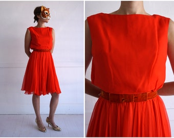 Vintage 60s Bright Red Sleeveless Party Dress with Velvet Bow Waistband by Miss Elliette California | Small