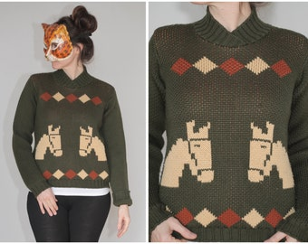 Vintage 70's Heavy Double-knit Olive Green Sweater with Horses and Diamonds | Medium/Large