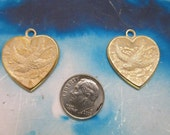Gold Plated White Frosted Patina Brass Heart And Bird Charms Pendants 249WHT x2