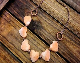 Heart Of Stone, Western Cowgirl Southwestern Boho Aventurine Heart Stone Necklace- Heart Necklace- Aventurine Necklace- Carved Heart Stone