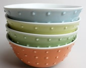 studded rustic bowls, set of four, ocean, mustard, avocado, tangerine