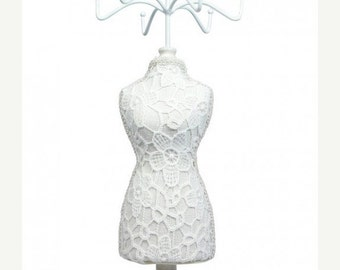 Halloween Stock Up Sale One White Lace Cover Fabric Covered Table top Mannequin 15.5 Inches Tall Jewelry Display