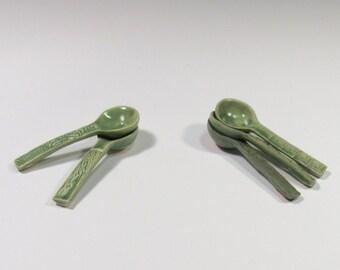 Ceramic Spoon for Salt or Sugar - Sugar Spoon - Green Spoon - Ceramic Teaspoons - Kitchenware - Handmade Pottery