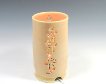 Yellow Table Lamp Night Light with floral carvings - Home Decor - Ambience Lighting - Mood Lighting - Handmade Pottery