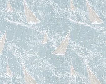 Sail Away - Sailboat Fabric - Spa Blue - Premier Prints Gray and White - Yardage