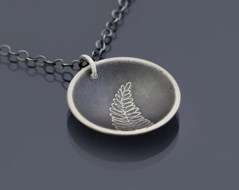 Fern Necklace, sterling silver leaf, botanical jewelry, fern frond, botanical necklace