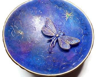 Dragonfly Wedding Ring Holder- Handmade Ring Dish- polymer clay Ring Dish- Personalized Ring Dish- Fantasy Fairy Ring Dish