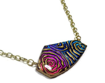 Modern Statement Picasso Necklace- polymer clay Jewelry- Resin Pendant- Rainbow Necklace- Faux Dichroic Necklace