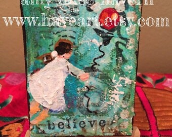 Believe original mini collage painting with stand