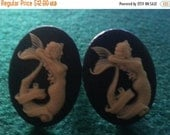 LABOR DAY SALE Mermaid, Mermaid cufflinks, Nautical, nautical cuff,pendant,cameo cufflinks,Mermaid pendant, pin up, tiki,retro cufflinkst
