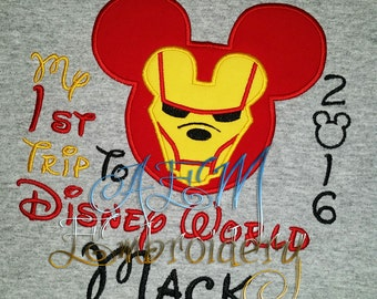 My 1st trip to Disney Embroidered Shirt Iron Man and many other Mouse Heads 2017 for the Boys or Girls Unisex Shirts