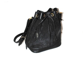 large black leather bucket bag 80s vintage reptile skin genuine leather drawstring purse