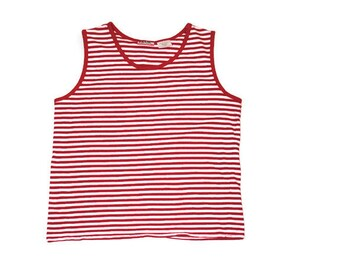 GRUNGE 90s red + white striped RELAXED fit wheres waldo HIPSTER tank top medium