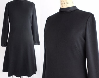 Vintage Adele Simpson Dress | Black Knit Dress | 1960s Wool Shift Dress with Satin Collar | M