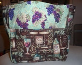wine bottles glasses pinot brown grapes teal tote bag/purse/ diaper bag