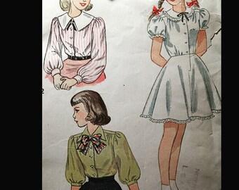 Vintage 40s Puff Sleeve Button Front Pilgrim Collar Blouse Slip Petticoat Girls' Sewing Pattern  B30