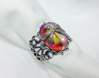 oO NAP Oo pink glass cab silver ring