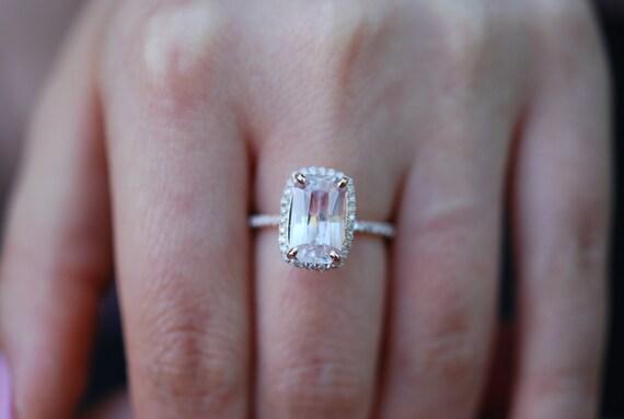 Sapphire Engagement Ring 14k Rose Gold Diamond Engagement Ring 3.63ct Cushion Ice Peach sapphire ring. Engagement rings by Eidelprecious.