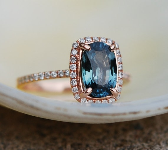 Blue Green sapphire engagement ring Teal by EidelPrecious on Etsy