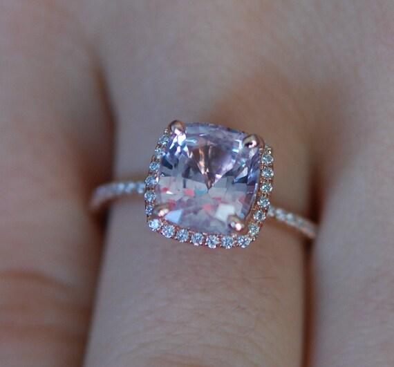 Ice Peach Sapphire Ring 14k Rose Gold Diamond Engagement Ring