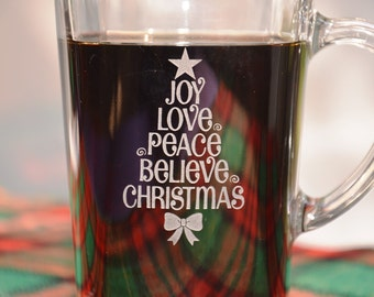 Christmas Inspiration Coffee Cup, Holiday Cheer Tea Mug, Personalized Engraved Coffee Cup