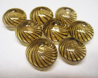 CLEARANCE 8 Amber Venetian Style Hand Blown Brown Striped Glass Beads 16mm x 10mm