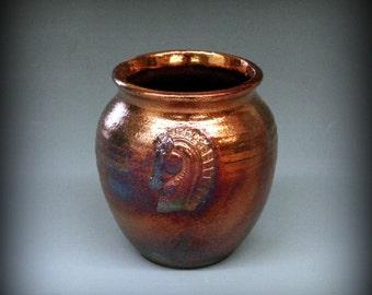Raku Pot with Horse in Metallic Copper