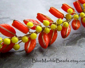 Beaded Trim-Wire Wrapped Trim-Floral Beaded Trim-Vintage Rare Glass Leaves and Flowers Wired Trim-1 Foot