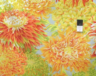 Philip Jacobs PJ41 Japanese Chrysanthemum Yellow Cotton Fabric By The Yard