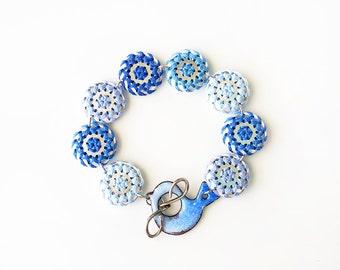 Hex Sign - BRACELET - Pennsylvania Dutch, embroidered jewelry, barnstar, geometric jewelry, folk art bracelet, Distelfink - blue tones