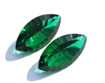 55% Sale 2Pcs 1 Match Pair AAA Green Quartz Concave Cut Marquise Briolette Size 20x10mm Concave Cut Gems (Choose The Drill Hole)