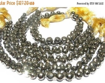 55% OFF SALE 8 Inches - High Quality Super Sparkly Pyrite Micro Faceted Onion Briolettes Size 6.5 - 7mm approx