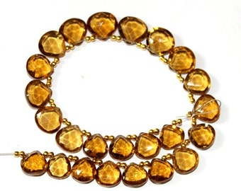 """55% OFF SALE 8"""" Strand 9-11 mm 24 Pcs AAA Natural Beer Quartz Faceted Heart Briolette Super Fine Cutting and Polishing Bq05"""