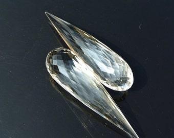 55% OFF SALE Huge 53x13mm AAA Natural Rock Crystal Quartz Faceted Elongated Teardrop Briolette, Match pair, Earring Pair, Focal Pendant