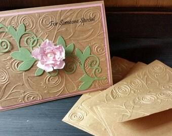 Set of 5 Paper Handmade Greeting Cards, Handmade Cards, Hostess Gift, Note Cards, Paper Greeting Cards, Handmade Paper cards