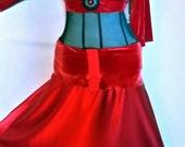Red velvet satin Belly dance dress size XL dance mesh