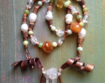 Viking indpired crystal and copper necklace